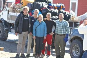 Los cinco expedicionarios, justo antes de la salida de Kangerlussuaq.